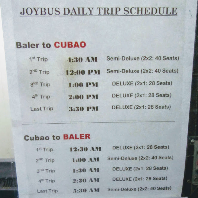This Joybus daily trip schedule has been posted at the Genesis Bus Terminal in Cubao